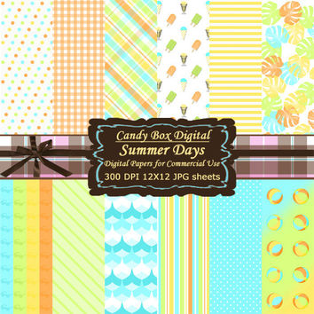 Summer Paper, Beach Paper, Summer Digital, beach digital, summer scrapbook, beach scrapbook, retro paper, retro summer - Commercial Use OK