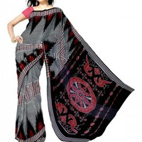 UNM3713- Pretty traditional grey tamilnadu coimbatore mercerized cotton silk tie&dye saree without blouse