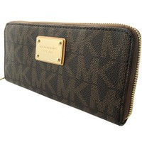 Michael Kors MK Logo Zip Continental Wallet - Brown