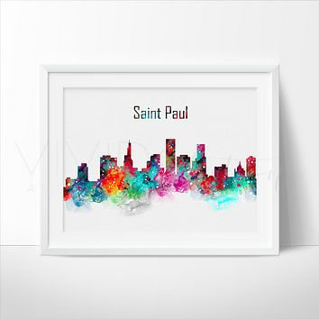 Saint Paul Skyline Watercolor Art Print