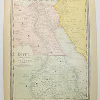 Vintage Egypt Map, NE Africa Map 1881 Rand McNally Map of Egypt, Nile River Map, Nubia Africa, Antique Arabia Map Sinai Peninsula, Red Sea
