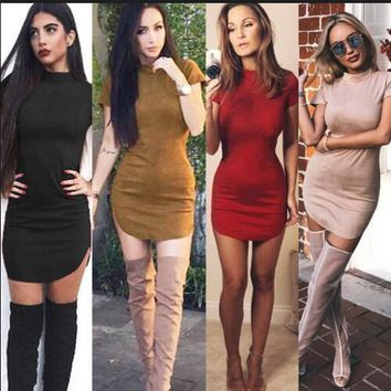 Fashion Suede Tight Short Sleeve Bodycon Mini Dress