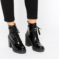 River Island Patent Lace Up Clunky Boot at asos.com