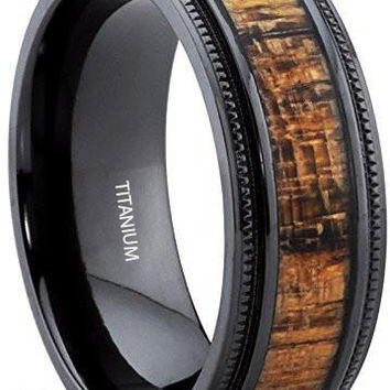 8MM Black Titanium Wedding Band with Real Koa Wood Inlay, Milgrain Ring Comfort Fit