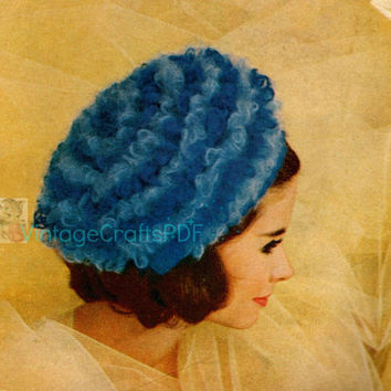1960s Blue Beret-Vintage Crochet Pattern-Cap-French-France-Cap-Beret-Loop Stitch-Womens Cap-Pillbox Hat-Pill Box-Paris-Vintage Crafts PDF
