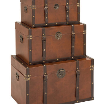Timeless Designed Wood Leather Trunk Set of 3