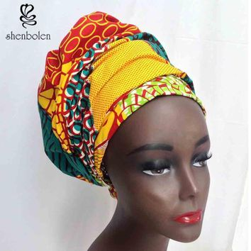 Kente head wrap African lady Scarf kerchief ankara wax fabric Traditional dashiki printing shenbolen pure cotton 70 inch*20 inch