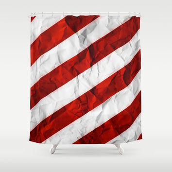 Crumbled Red Stripes Shower Curtain by Nicklas Gustafsson