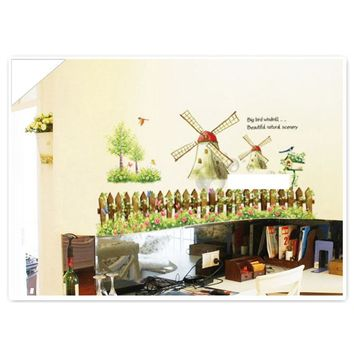 Cartoon Windmill Wall Decal Removable Country Style Sticker Art DIY Home Decoration 60*90cm