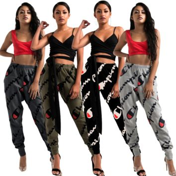 Champion Women Fashion Print Sport Stretch Pants Joggers