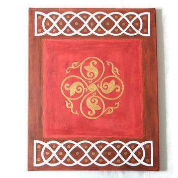 "celtic inspired painting, original wall art, celtic acrylic painting in red and brown, home decor ""keltische Rose"" 40 x 50 cm(15,75 x 19,7"")"
