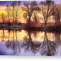 Pella Crossing Sunrise Reflections Hdr Acrylic Print