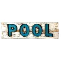 Pool Metal and Wood Wall Sign 28-in