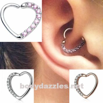 Pink Lined CZ Set Heart 16 Gauge Ear Cartilage/Daith Hoop Rings Hoop Rings Helix Rook