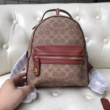 Coach Fashion Shopping Leather Tote Small Backpack Bag