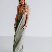 Perfection Pocket Maxi Dress - Light Olive