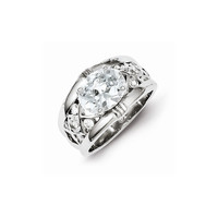 Sterling Silver Rhodium Plated CZ Engagement Ring: RingSize: 6