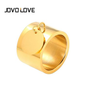 JOVO Fashion Brand Round Tags Women Female Wedding Bands Wide Finger Rings Gold Color Stainless Steel Rings 4 Colors Size 6-10#