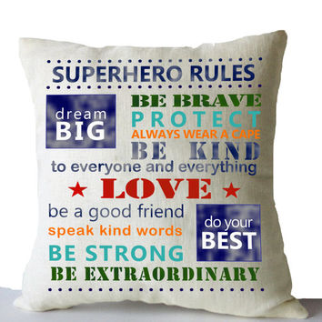 Superhero Boy Room Decor Throw Pillows Cover Superhero Rule Cushion Linen Decorative Pillow Birthday Present Baby Boy Gift Nursery Decor