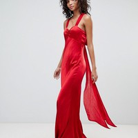 Ghost V Neck Maxi Dress With Bow Back at asos.com