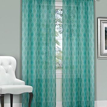 Ben&Jonah Collection Kent Window Curtain Panel - 52x63 - Teal