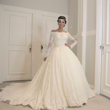 New Model Full Beading Luxury Ball Gown Heavy Beads Wedding Dresses Boat Neckline Amanda Novias 2017