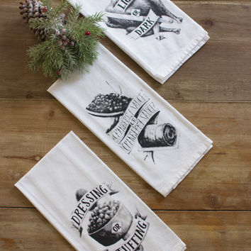 Set of 3 Cotton Tea Towels - Thanksgiving - Dressing Cranberry Turkey