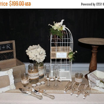 ON SALE Rustic Wedding Decor 22  Piece Package / Card Box / Mason Jars / Knife Set / Birdcage