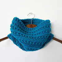 CHUNKY SCARF neckwarmer blue cowl turquoise