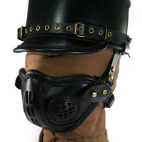 STEAMPUNK LEATHER Shako and Mask Set BLACK leather