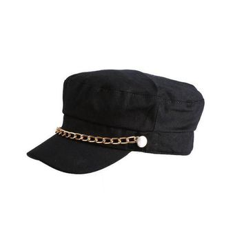 CREYCI7 Fashion Women Hats Solid Color Chain Baseball Cap Girl Autumn Ladies Casual Sun Caps  JL