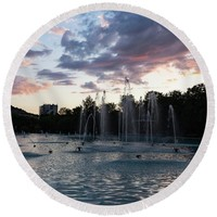 Dancing Jets And Music Sunset - Plovdiv Singing Fountains Round Beach Towel for Sale by Georgia Mizuleva