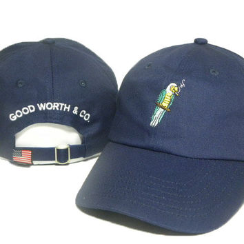 Navy Blue Parrot Embroidered Baseball Cap Hat