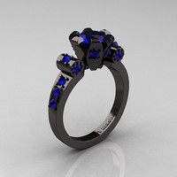 Modern Antique 14K Black Gold 1.0 Carat Blue Sapphire Flip Accent Bridal Solitaire Ring R227-14KBGBS