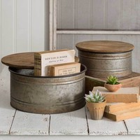 Rustic Primitive Farm House Country Set of Two Bins Storage Containers with Lids