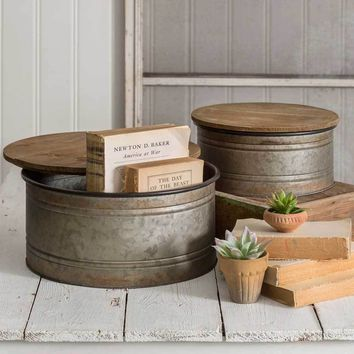 Set of Two Galvanized Bins with Wooden Lids