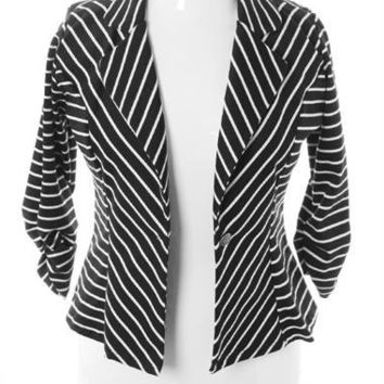 Plus Size Striped Knit Black White Blazer, Plus Size Clothing, Club Wear, Dresses, Tops, Sexy Trendy Plus Size Women Clothes