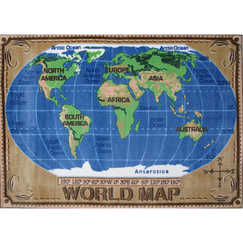 Fun Rugs Supreme Collection World Map Area Rug