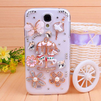 Lovely-Style Diamond Rotating Horse Samsung S4 Case, samsung s4 case galaxy, samsung s3 galaxy case, samsung galaxy note2 case