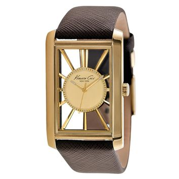 Kenneth Cole KC1906 Men's Classic Gold Tone Transparent Dial Brown Leather Strap Gold Tone Steel Watch