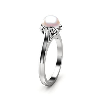 Pearl Engagement Ring White Gold Ring Solitaire Engagement Ring Gold Pearl Ring