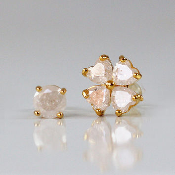 Gold studs ,  cz stud earring ,  flower and dot gold studs,  PAIR of 2 different stud , flower earrings