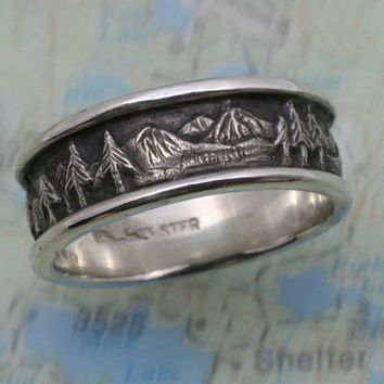 MOUNTAIN LANDSCAPE Wedding Band 8mm width in by BandScapes on Etsy