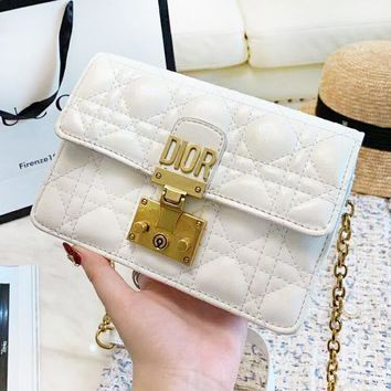 DIOR high quality new fashion leather shoulder bag women White