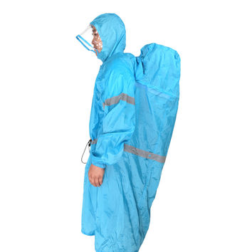 BlueField Outdoor Raincoats Backpack Rain Cover One-piece Rain Poncho Cape Unisex Hiking Camping Rain Gear