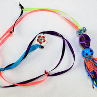 Day of the Dead Colorful Ribbon and Dione Bead Sterling Silver Skull Necklace - Halloween Necklace