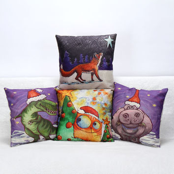 3D New Years Animal Series Cotton Pillow Covers Luxury Seat Chair Bed Throw Pillow Case