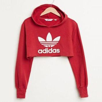 ONETOW Adidas Casual Long Sleeve Hooded Crop Top Sweater Pullover Hoodie
