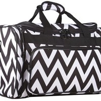 Ever Moda Black Chevron Duffle Bag 19-inch