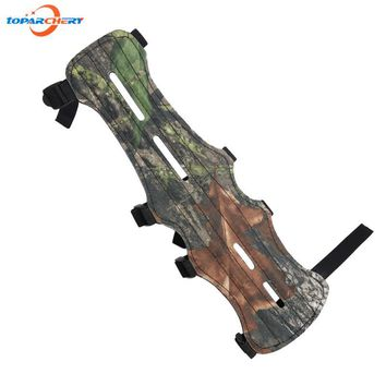 Archery Bow Arm Guard Length 11.8'' (30cm) Protection Forearm for Hunting Target Shooting with Safe 4-Strap Camo Cloth & PU